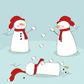 Snowmen Fighting With Snowballs