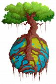 image of pain-tree  - vector illustration of tree root holding Earth - JPG