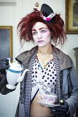 stock photo of mad hatter  - Woman dressed as the mad hatter portrait - JPG