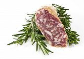 Slices Of Salami And Rosemary