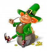 elf leprechaun smoking pipe for saint patrick's day. Rasterized illustration. Vector version also av