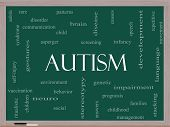 stock photo of aspergers  - Autism Word Cloud Concept on a Blackboard with great terms such as asperger screening neuro social and more - JPG