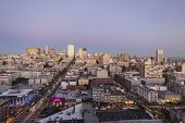 SAN FRANCISCO, CALIFORNIA - JAN 14: Dusk view of Nob Hill tourist district. San Francisco's 80% hote