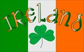 image of irish flag  - The Republic of Ireland flag with the text IRELAND and a lucky shamrock - JPG