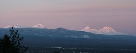 picture of three sisters  - A panoramic shot of the three sisters and broken top - JPG