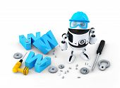 Robot With Www Sign. Website Building Or Repair Concept
