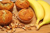 Banana Nut Muffins with Ingredients