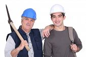 Construction worker and his grandson.