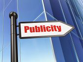 Marketing concept: Publicity on Business Building background