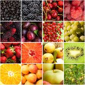 image of sweet sixteen  - Various fruits and berries backgrounds collage from sixteen photos - JPG