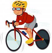 Illustration of a speedy biker on a white background