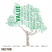 Vector eps concept or conceptual value tree word cloud on white background