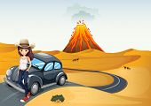 picture of beetle car  - Illustration of a young teenager on a journey - JPG