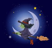 Illustration of a witch riding on a broomstick floating near the moon
