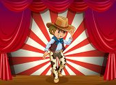 Illustration of a cowboy in the middle of the stage