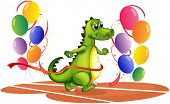 foto of dinosaur-eggs  - Illustration of a crocodile walking between balloons on a white background - JPG