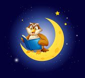 Illustration of an owl reading a book on the moon