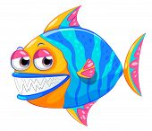Illustration of a colorful piranha on a white background