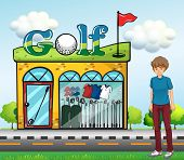 Illustration of a boy at the golf store