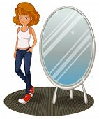 Illustration of a teenage girl beside the mirror on a white background