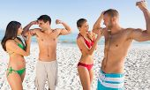 foto of off-shore  - Happy friends having fun together on the beach - JPG