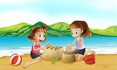 Illustration of the two friends making a castle at the beach