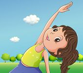 Illustration of a cute little girl exercising
