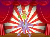 Illustration of a fairy at the stage with flowers