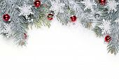 stock photo of pine-needle  - Christmas decoration with fir branch - JPG
