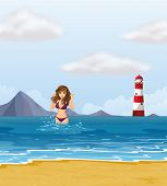 Illustration of a beach with a lady in a purple bikini
