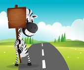 Illustration of a narrow road with a zebra holding an empty signboard