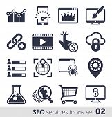 SEO services icons set 02 MONO
