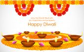 pic of marigold  - illustration of decorated Diwali diya on flower rangoli - JPG