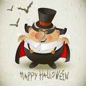 Cute Count Dracula.  Halloween Design Background.