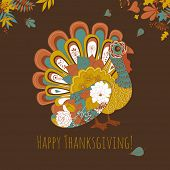 stock photo of turkey dinner  - Happy Thanksgiving beautiful turkey card - JPG