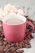 Cocoa drink  with spices, zephyr and cocoa beans on wooden background