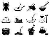 image of rice noodles  - isolated black Chinese food icons set from white background - JPG