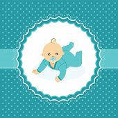 Baby boy announcement card. Vector illustration.