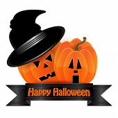 Halloween Background.pumpkin Orange And Black Ribbon Isolated On White Background.vector