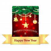 Christmas Greeting Card With Gold Ribbon Isolated On White Background.christmas Background.golden Ch