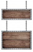 medieval signboards set with chains isolated on white