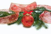 Christmas Red Ball, Twig Of Fir , Ribbon With Drawing Of Tree Ana Star