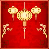 pic of mid autumn  - Oriental Chinese New Year Lantern cherry blossom background - JPG