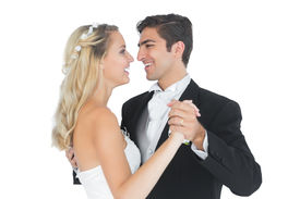 pic of waltzing  - Sweet married couple dancing viennese waltz smiling at each other  - JPG