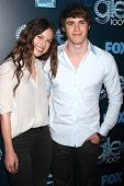 LOS ANGELES - MAR 18:  Melissa Benoist, Blake Jenner at the GLEE 100th Episode Party at Chateau Marm
