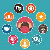 Vector Gamification Concept In Flat Style