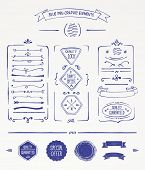 Blue pen graphic elements