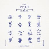 Different tea & coffee cups, mugs, pots. Blue pen drawings