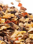 Sportive  Muesli Background With Black Oats. For Horse.