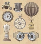 Vintage Steampunk vector design set